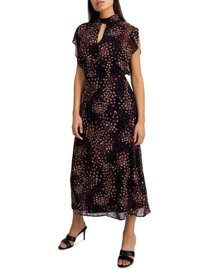 High-Neck Flutter Sleeve Dress image 2
