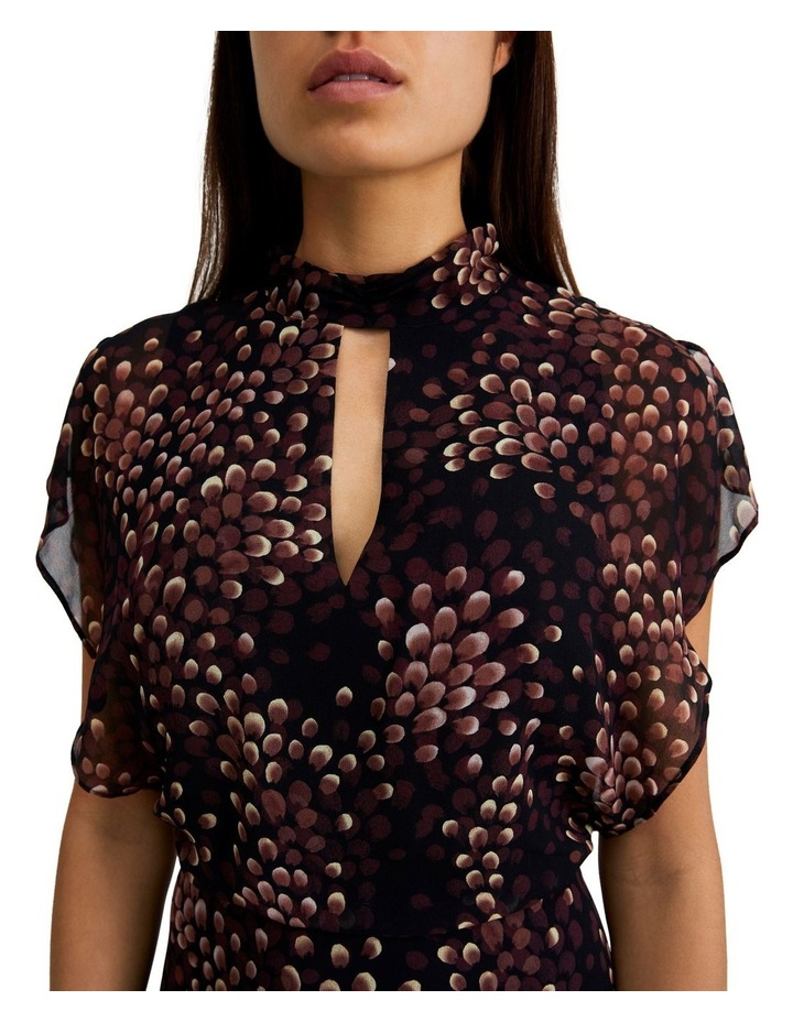 High-Neck Flutter Sleeve Dress image 4