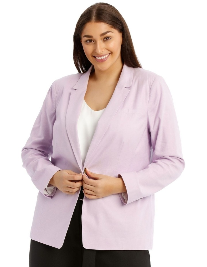 Linen Blend Single Button Blazer image 1