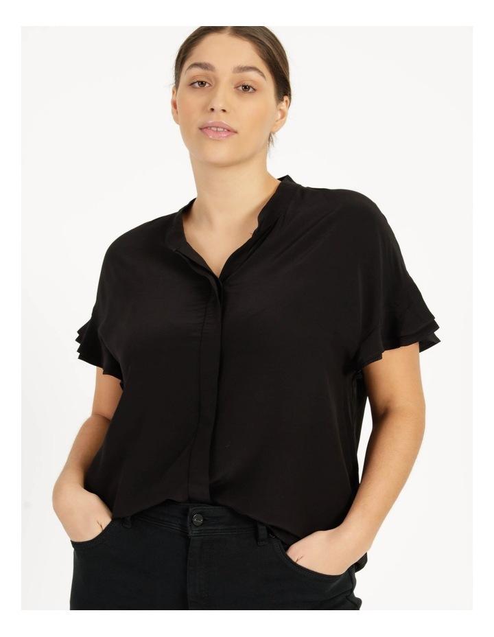 Frill Sleeve Shirt Black image 1