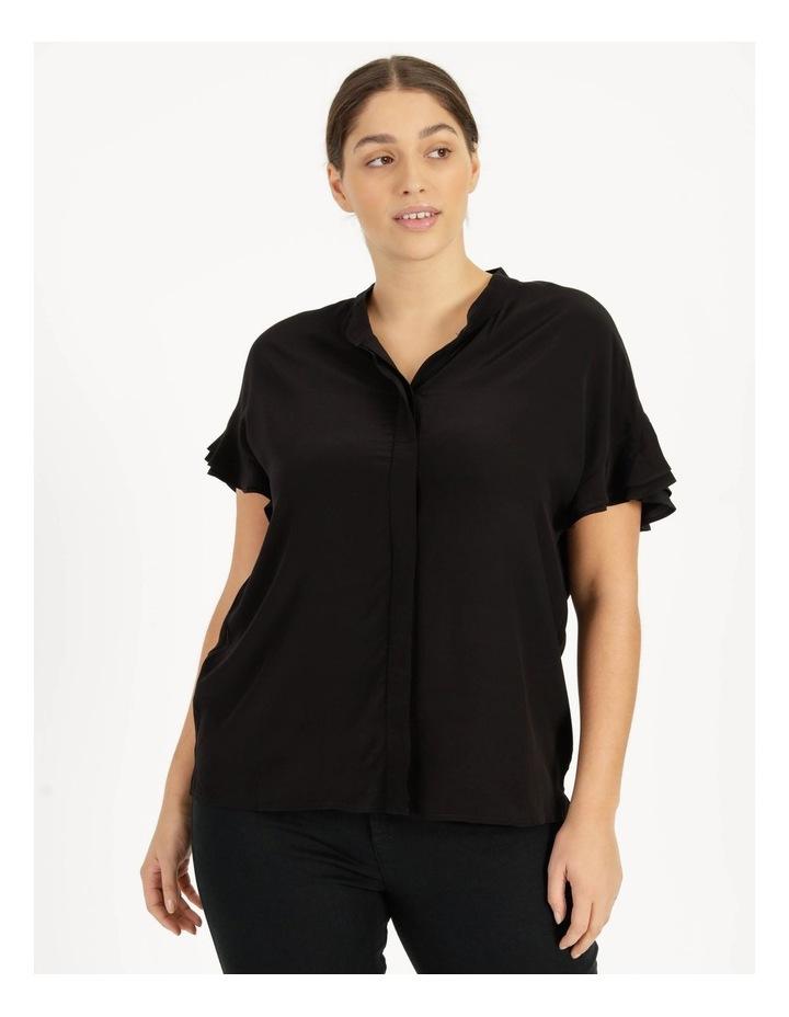 Frill Sleeve Shirt Black image 2