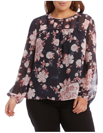 a5f77006b6c2c Basque WomanPrinted Sheer Pin-Tucked Top. Basque Woman Printed Sheer  Pin-Tucked Top