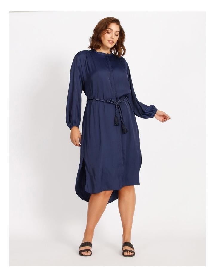 Relaxed Satin Shirt Dress image 1