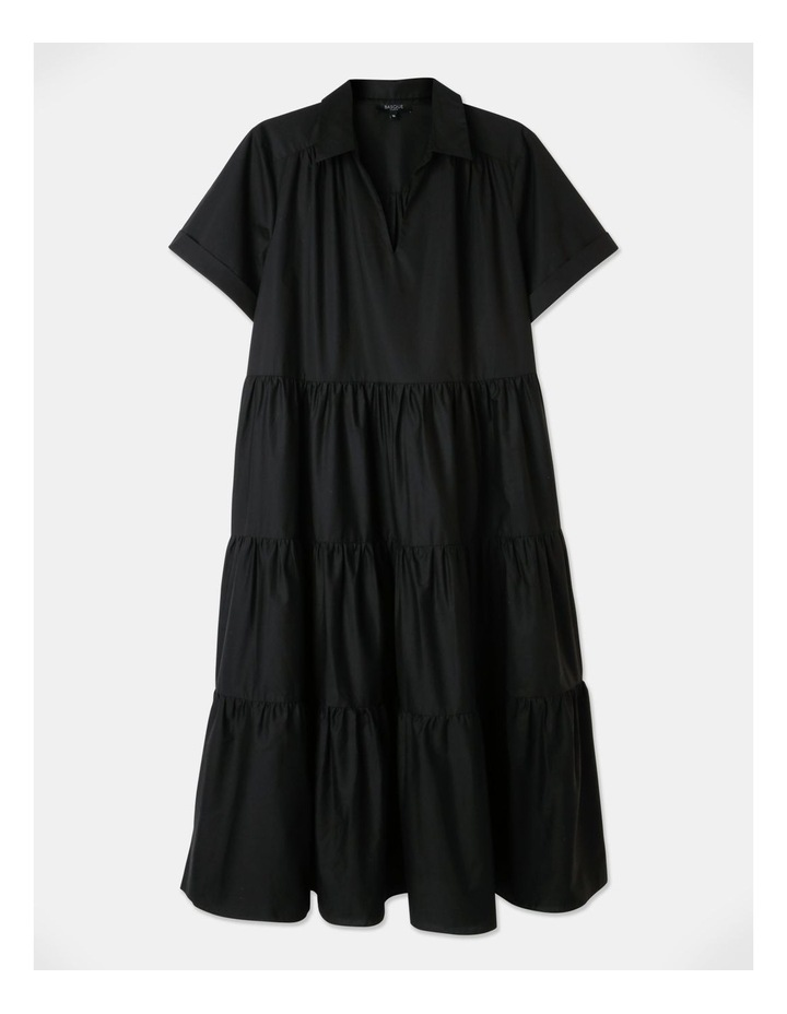 Tiered Cotton Dress Black image 1