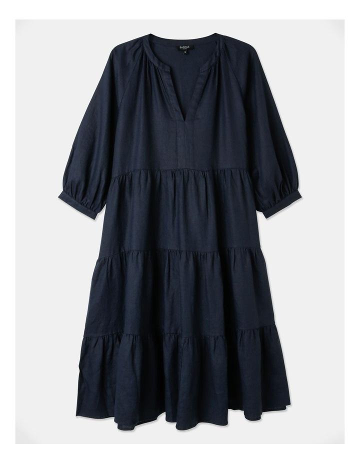 Tiered Puff Sleeve Linen Dress image 1