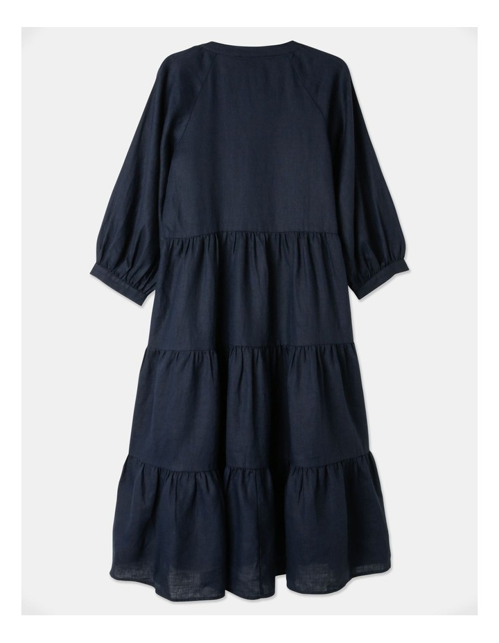Tiered Puff Sleeve Linen Dress image 2