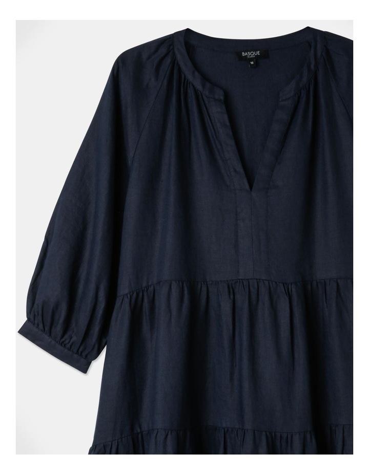 Tiered Puff Sleeve Linen Dress image 3