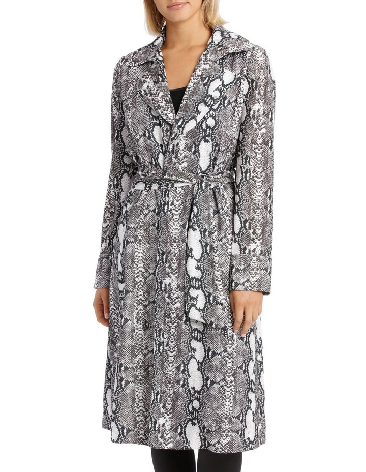 Snake Print Trench Longline Bounded Seams image 1