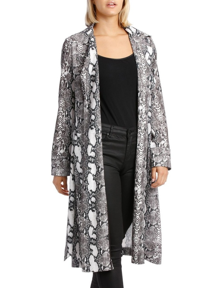 Snake Print Trench Longline Bounded Seams image 2
