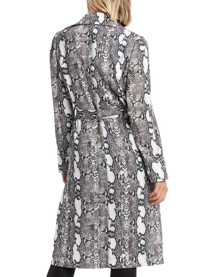 Snake Print Trench Longline Bounded Seams image 3