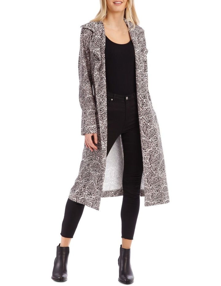 Animal Print Longline Bounded Seams Trench image 1