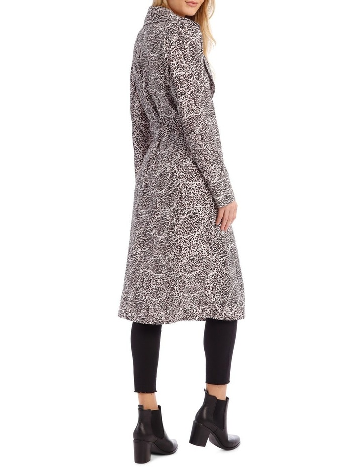 Animal Print Longline Bounded Seams Trench image 3