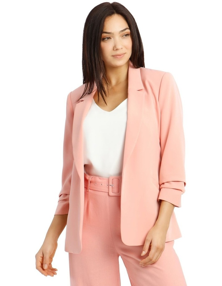 Jacket Belted with Ruched Sleeve - Pink image 1