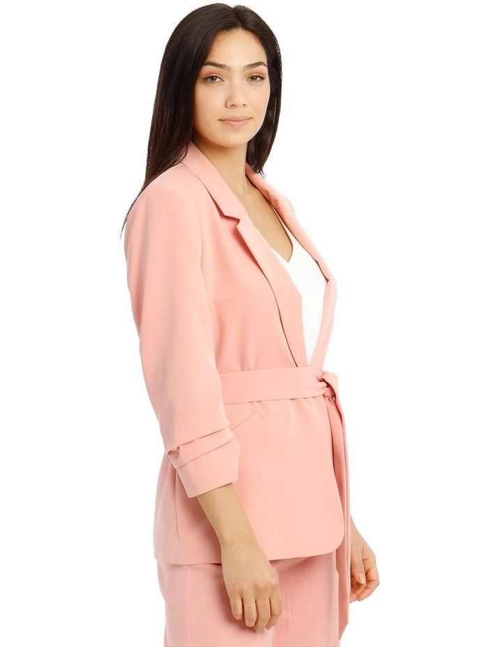 Jacket Belted with Ruched Sleeve - Pink image 2