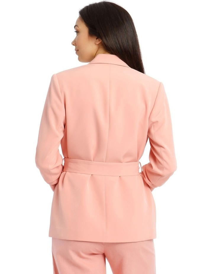 Jacket Belted with Ruched Sleeve - Pink image 3