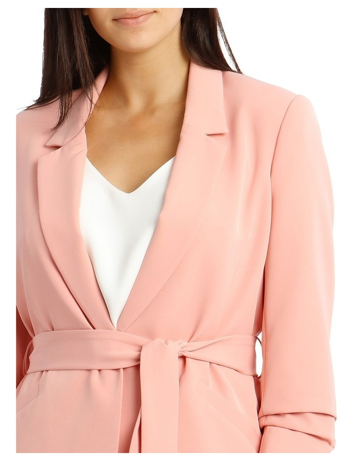 Jacket Belted with Ruched Sleeve - Pink image 4
