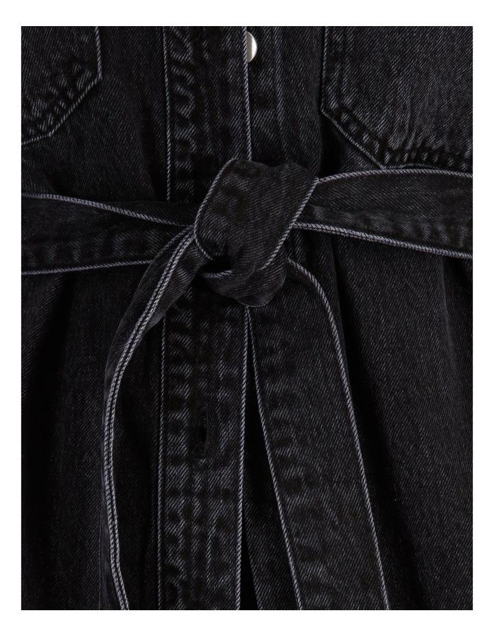 Denim Shacket With Tie image 6