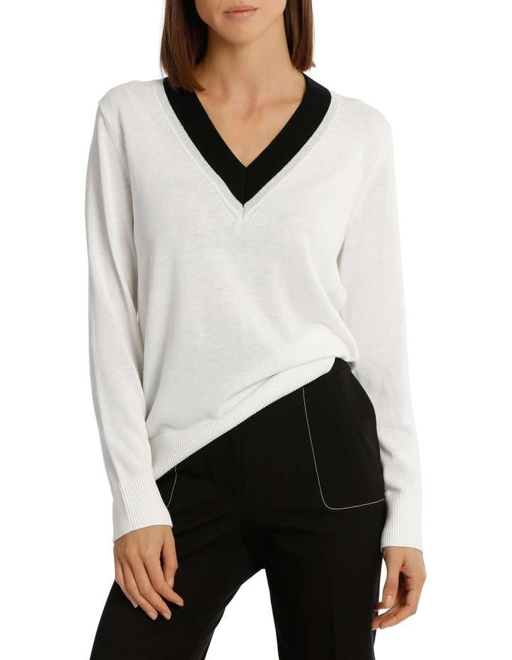 Sweater Vee Neck Cricket Style Lurex Tipped image 1