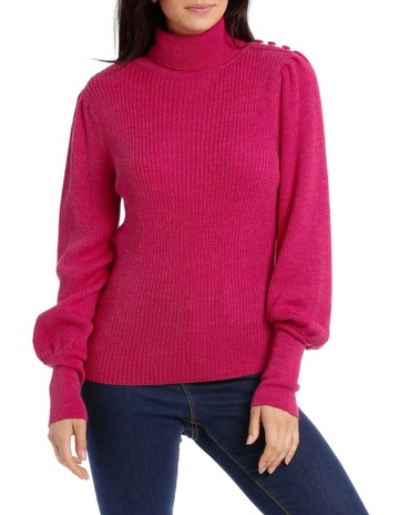 PiperSweater Roll Neck with Self-Button Detail. Piper Sweater Roll Neck  with Self-Button Detail 71c890c61