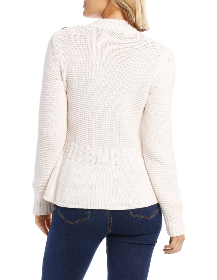 Sweater Peplum Button Detail image 3