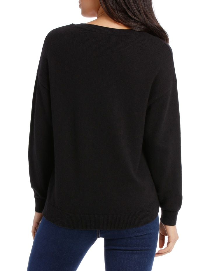 Vee Neck Sweater Hi low image 3