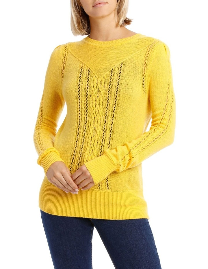 Sweater Cable Crew Neck and Fancy Stitch image 1