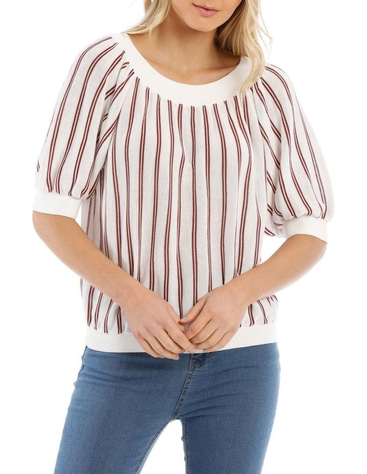 Striped Crew Neck Elbow Length Sweater image 1