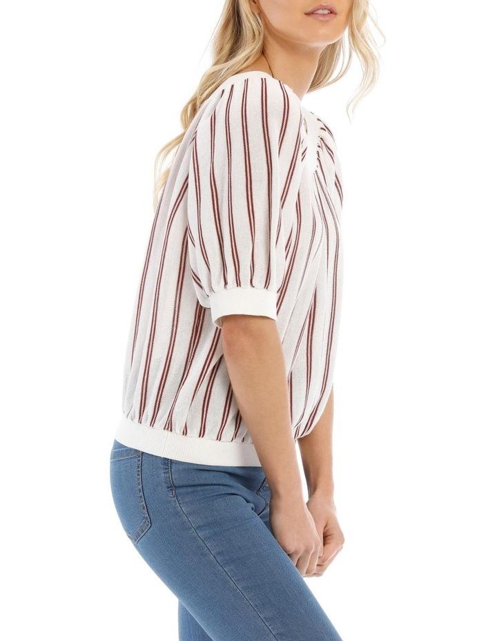 Striped Crew Neck Elbow Length Sweater image 2