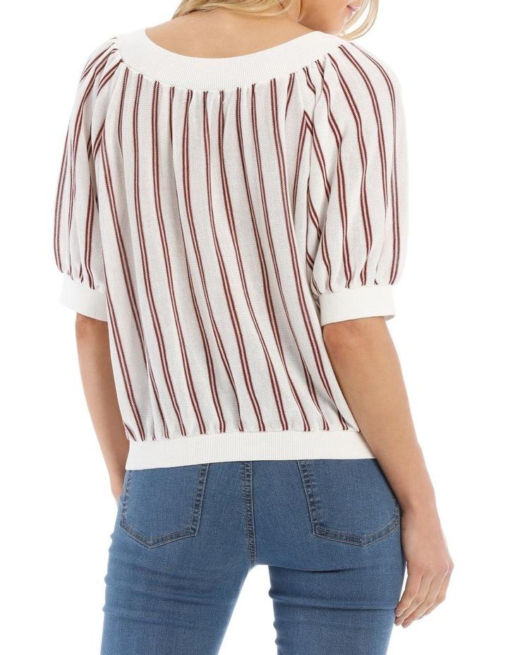 Striped Crew Neck Elbow Length Sweater image 3