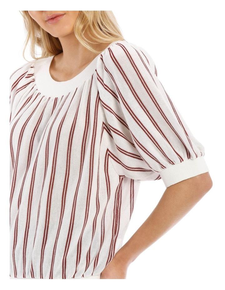 Striped Crew Neck Elbow Length Sweater image 4