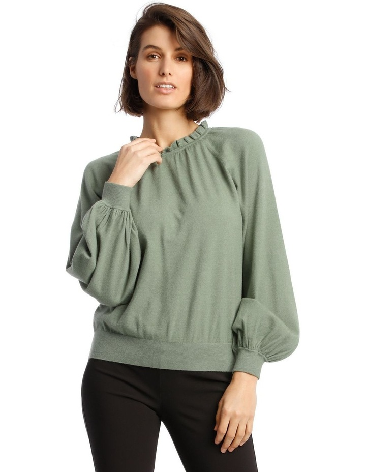 Sweater With Ruffle Neck And Ballon Sleeve image 1