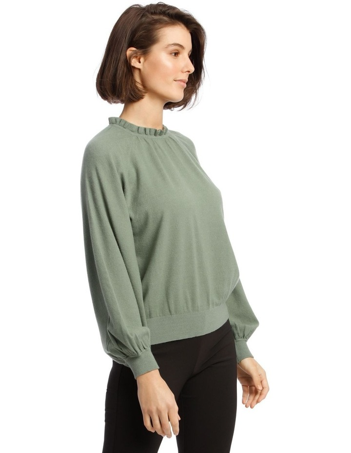 Sweater With Ruffle Neck And Ballon Sleeve image 2