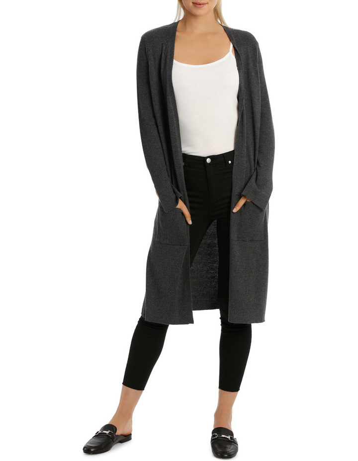 Longline Cardigan With Rib Detail And Side Spilits image 1