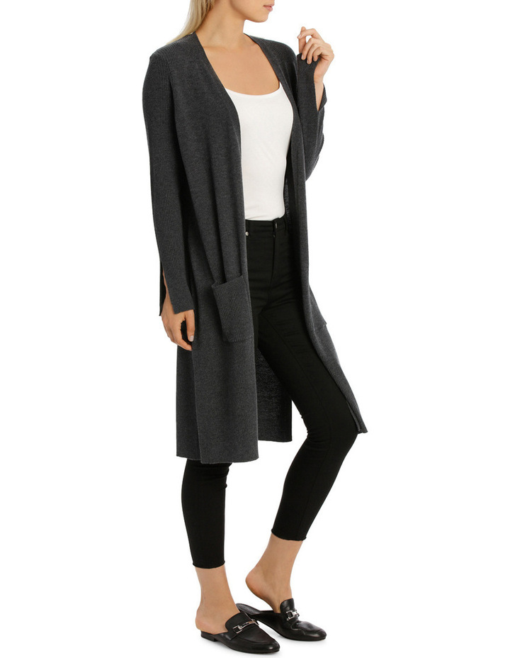 Longline Cardigan With Rib Detail And Side Spilits image 2