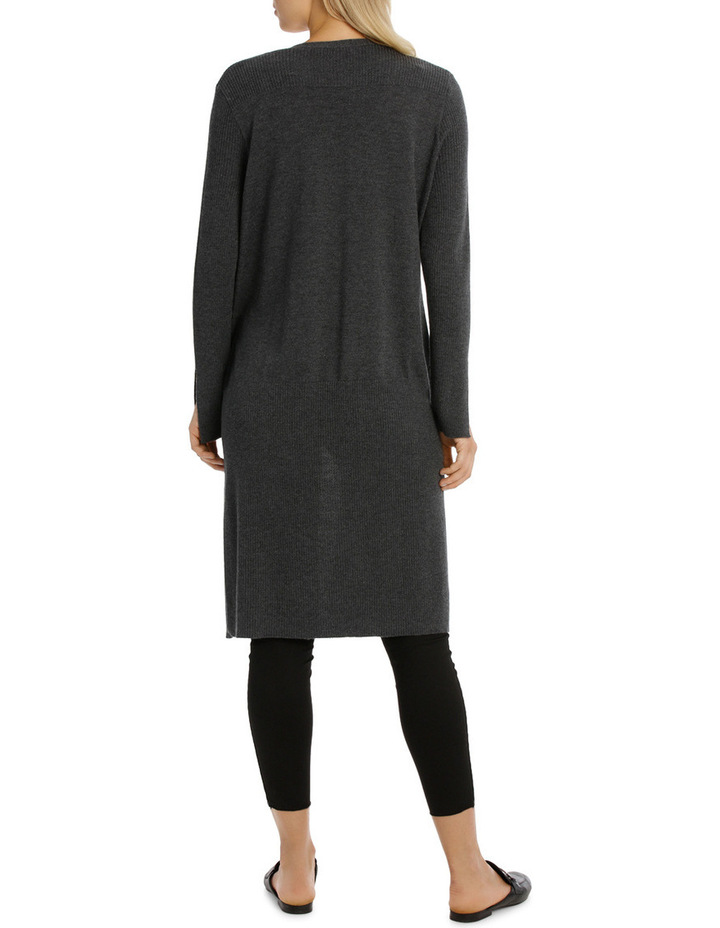 Longline Cardigan With Rib Detail And Side Spilits image 3