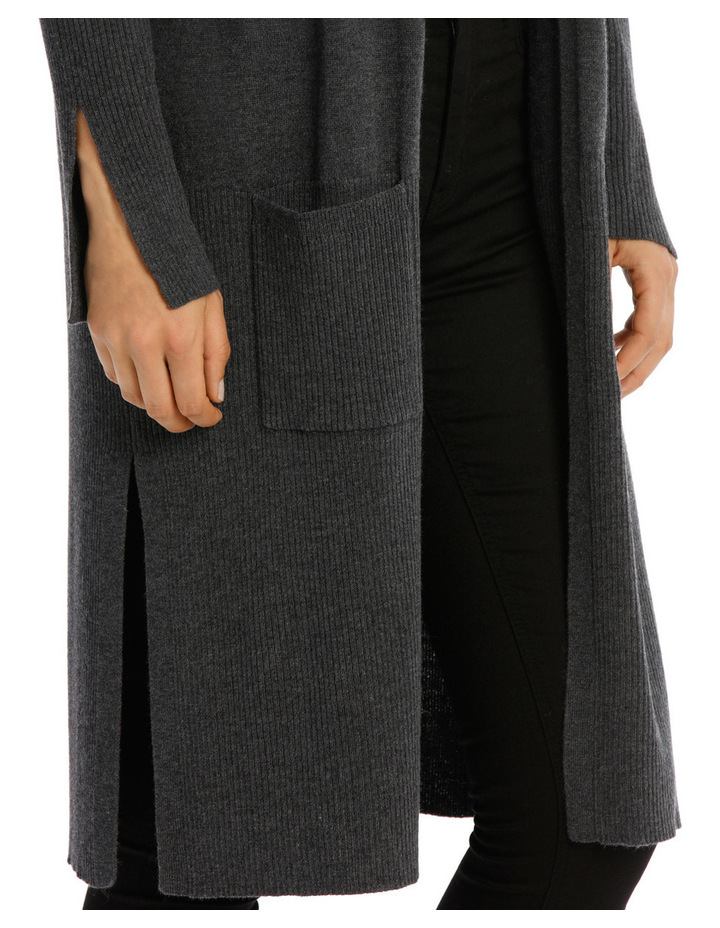 Longline Cardigan With Rib Detail And Side Spilits image 4