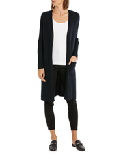 Piper - Longline Cardigan With Rib Detail And Side Spilits