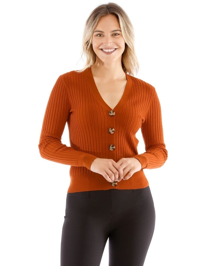 Short Vee Neck Rib Cardigan image 1