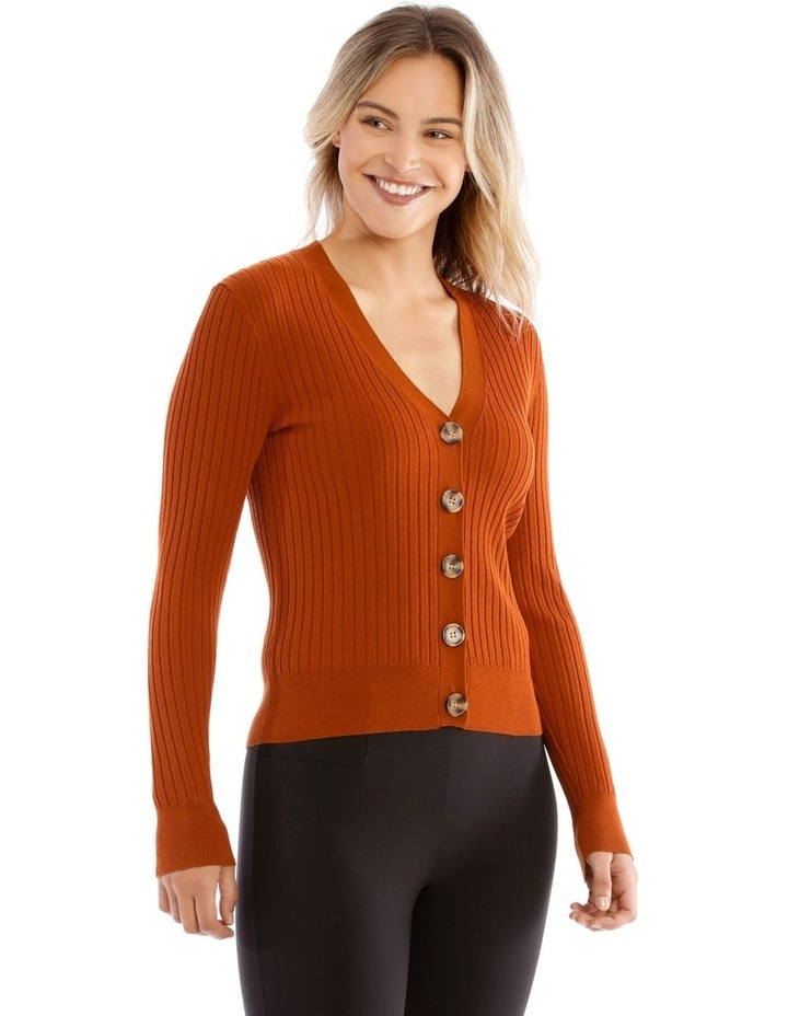Short Vee Neck Rib Cardigan image 2