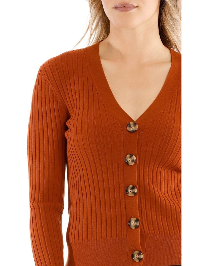 Short Vee Neck Rib Cardigan image 4