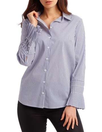 79c7896a PiperCotton Stripe Shirt with Detailed Sleeve. Piper Cotton Stripe Shirt  with Detailed Sleeve