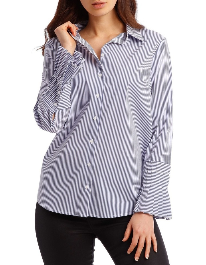 Cotton Stripe Shirt with Detailed Sleeve image 1