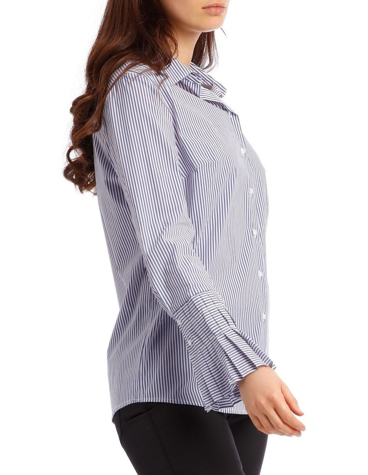 Cotton Stripe Shirt with Detailed Sleeve image 2