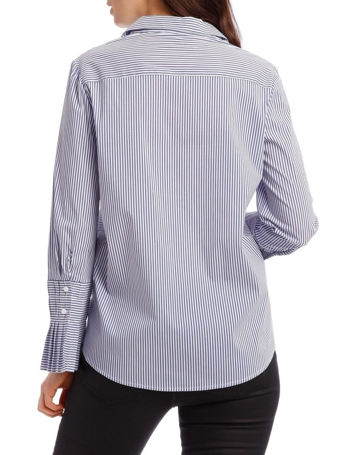 Cotton Stripe Shirt with Detailed Sleeve image 3