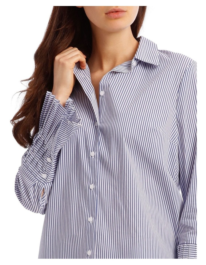 Cotton Stripe Shirt with Detailed Sleeve image 4