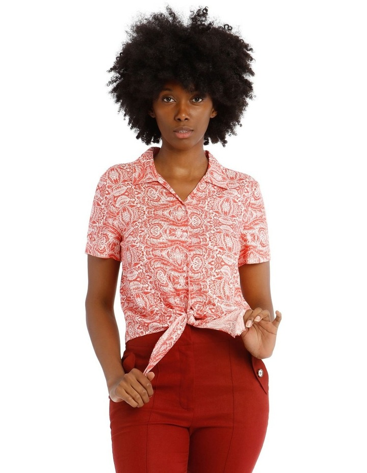 Open Neck Button Up Shirt with Tie Detail image 1