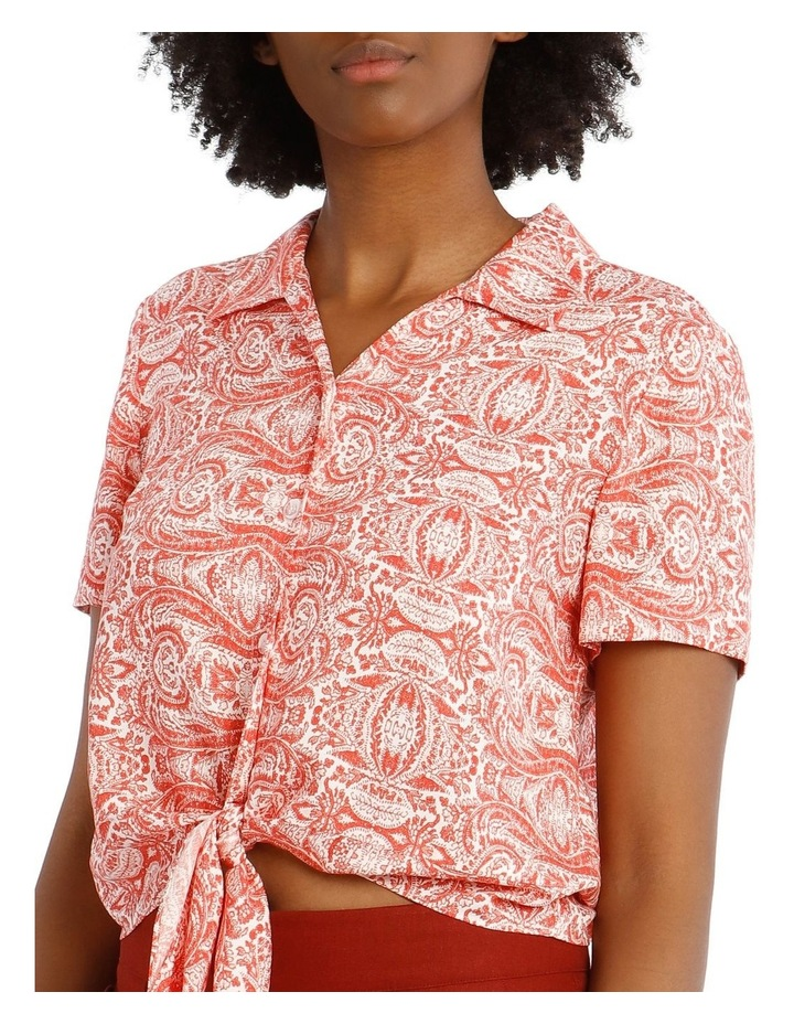Open Neck Button Up Shirt with Tie Detail image 4