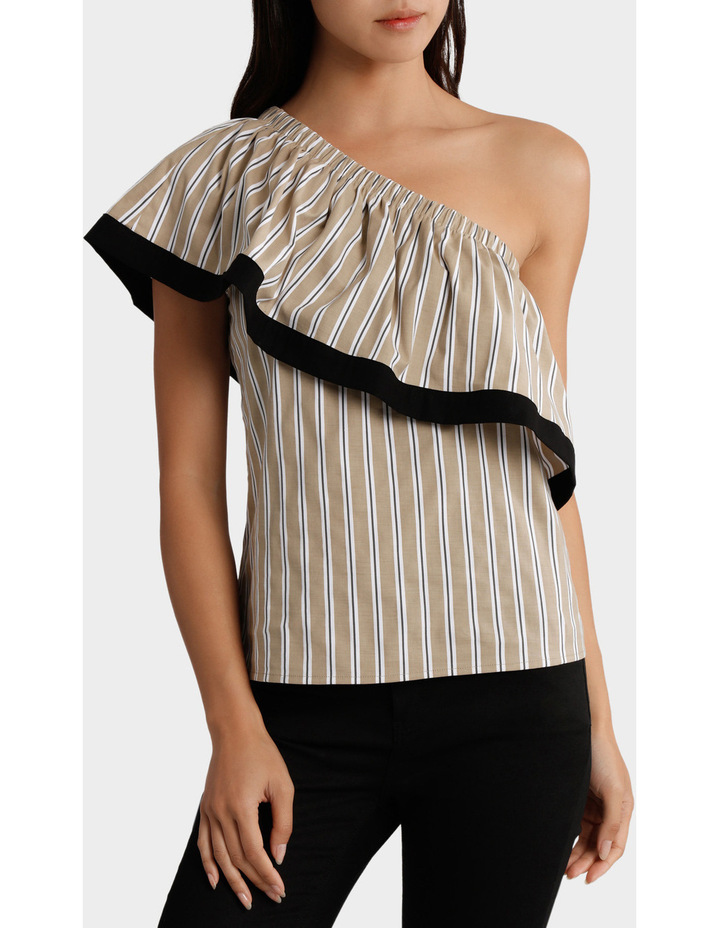 Top One Shoulder Ruffle Stripe and tipped image 1
