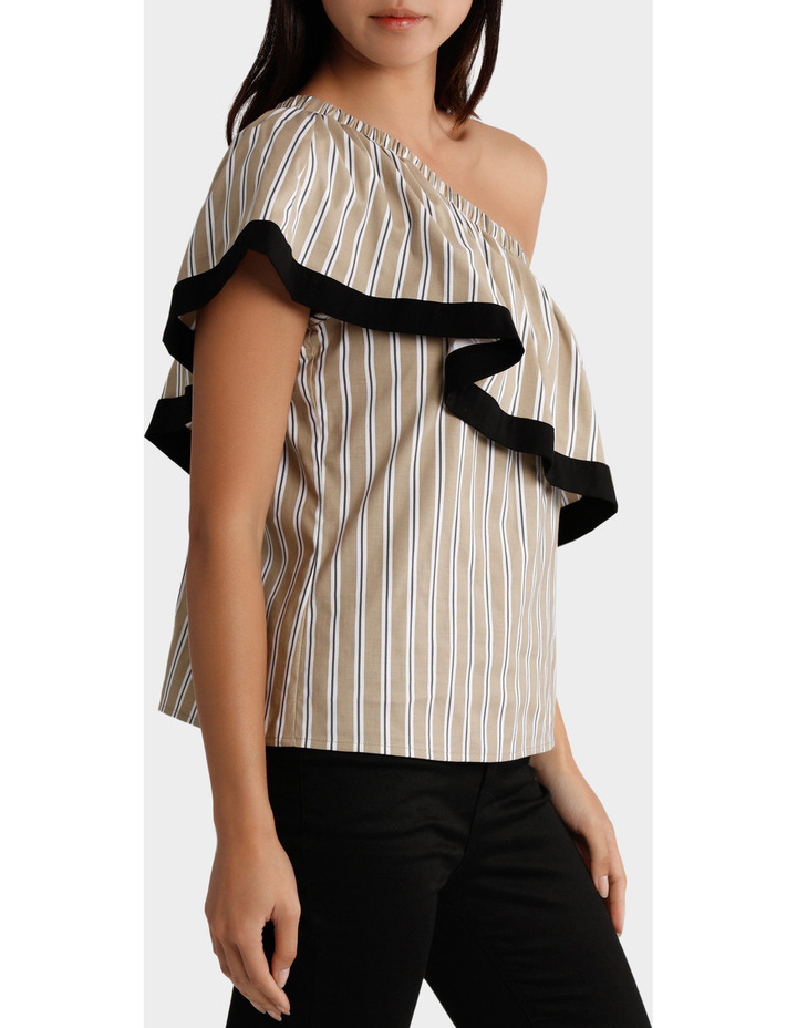 Top One Shoulder Ruffle Stripe and tipped image 2