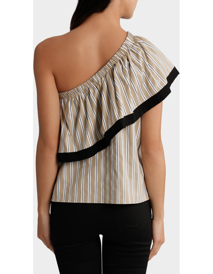 Top One Shoulder Ruffle Stripe and tipped image 3